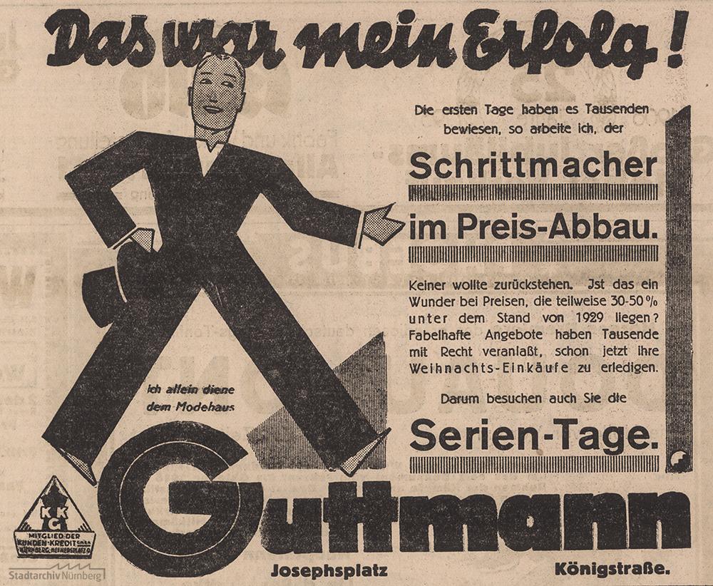 """Bei der S. Guttmann KG waltete im Weihnachtsgeschäft der """"Schrittmacher im Preis-Abbau"""". Werbeanzeige im Fränkischen Kurier vom 2.12.1931. (Stadtarchiv Nürnberg F 4 Nr. 1624)"""