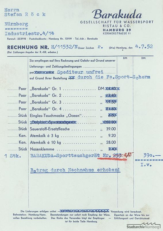 Rechnung der Barakuda Gesellschaft für Wassersport Ristau & Co., Hamburg