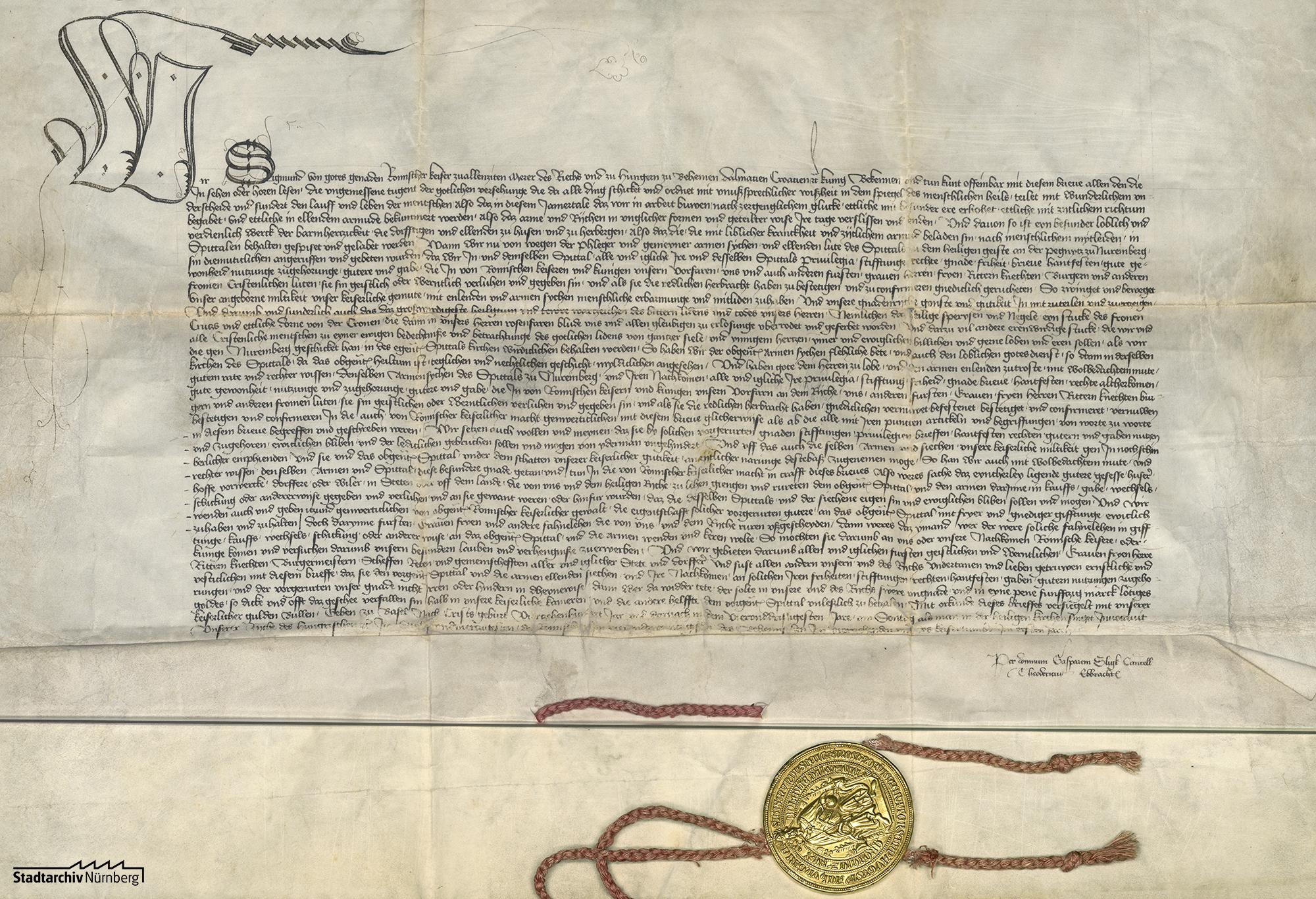 Kaiser Sigmund bestätigt dem Nürnberger Heilig-Geist-Spital alle Privilegien, Stiftungen, Rechte, Gnaden, Freiheiten, Güter und Nutzungen