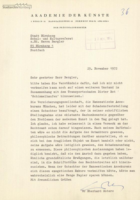 Schreiben Dr. Eberhard Roters an die Stadt Nürnberg vom 23.11.1972
