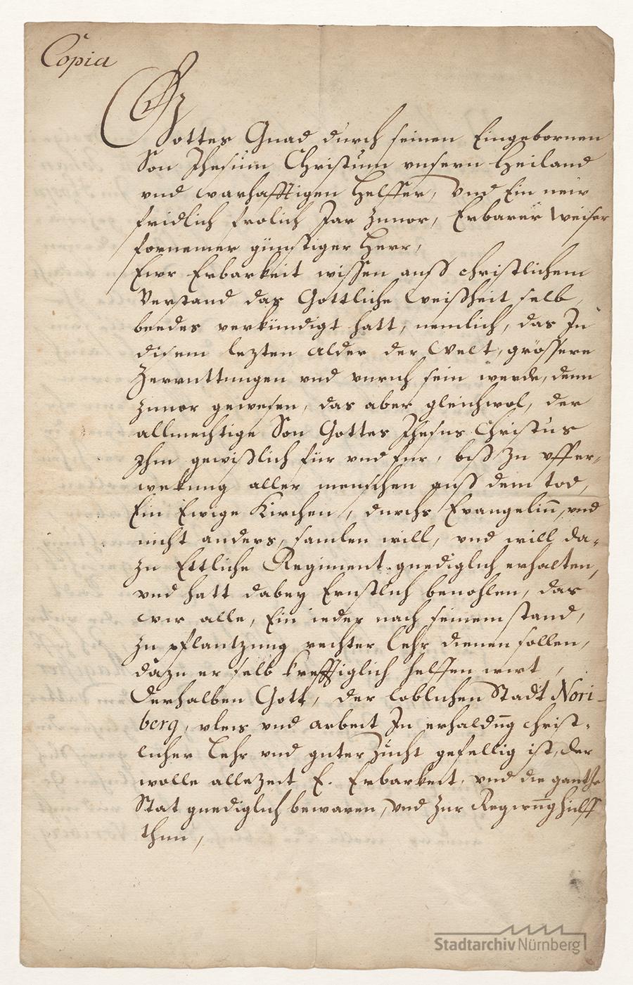 Abschrift (Copia) eines von Philipp Melanchthon an Herrn Leonhard Tucher als Pflegern im Neuen Hospital zum Heiligen Geist zu Nürnberg am 29. November 1555 eigenhändig erlassenen Schreibens. 2 Bl., Papier (Stadtarchiv Nürnberg E 1/1082 Nr. 1).