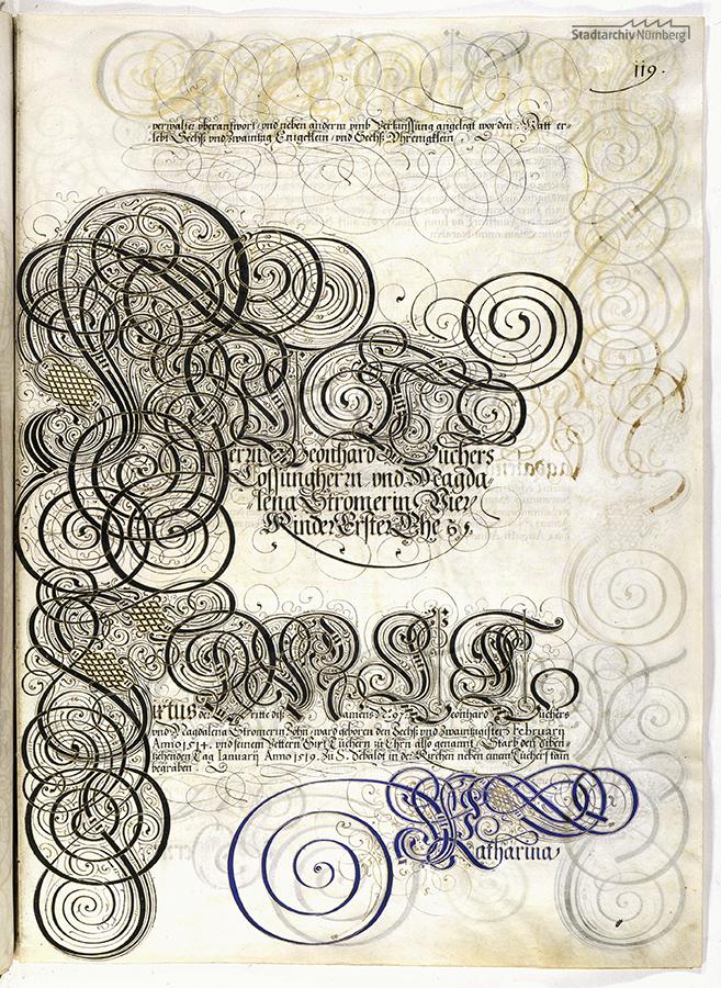 Das Große Tucherbuch: Eintrag zu Leonhard II. Tucher, Magdalena Stromer und Katharina Nützel und ihren Kindern. Pergamenthandschrift um 1590 (Stadtarchiv Nürnberg E 29/III Nr. 258, fol. 119r).