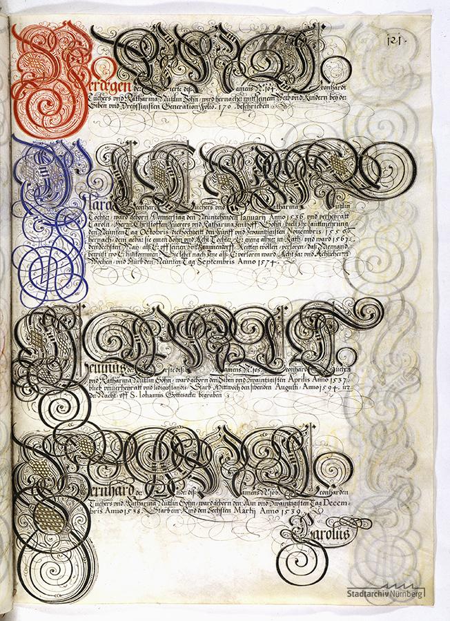 Das Große Tucherbuch: Eintrag zu Leonhard II. Tucher, Magdalena Stromer und Katharina Nützel und ihren Kindern. Pergamenthandschrift um 1590 (Stadtarchiv Nürnberg E 29/III Nr. 258, fol. 121r).