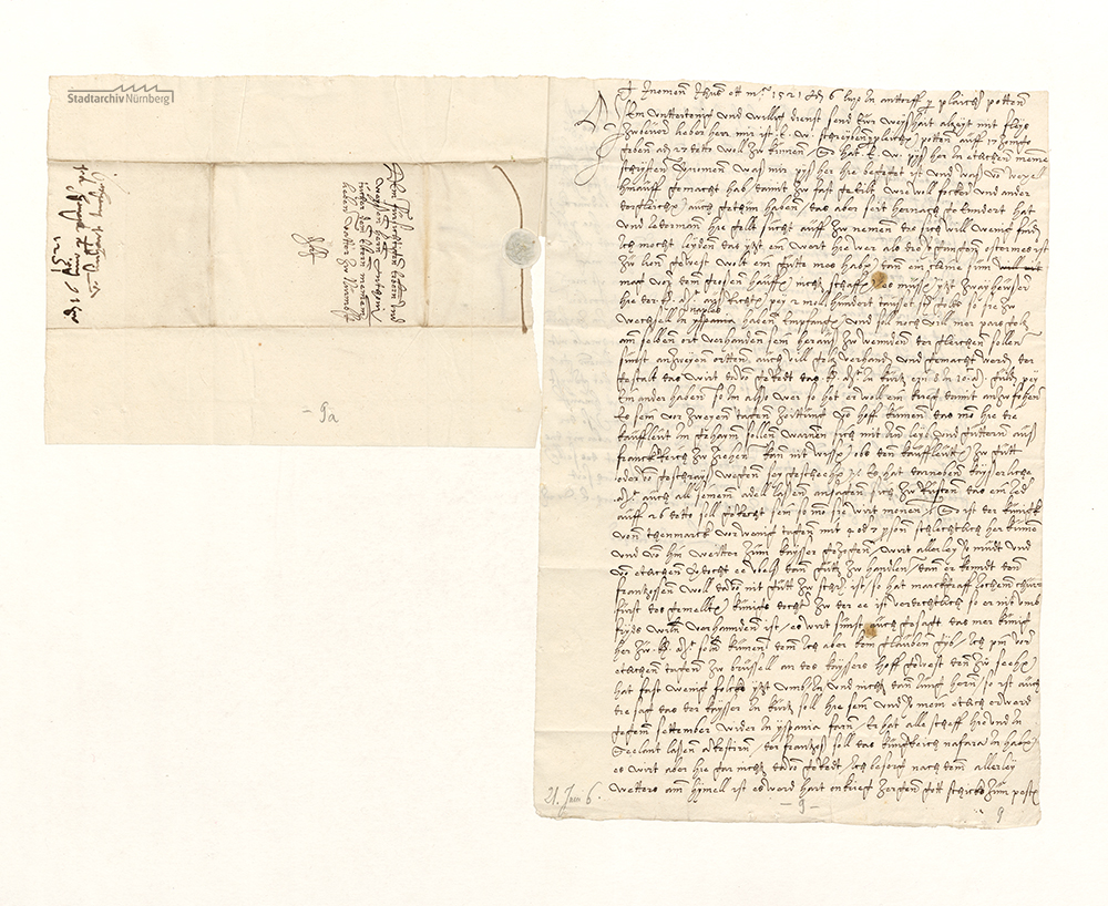 Brief Linhart Tuchers aus Antwerpen an seinen Vater Anthoni Tucher in Nürnberg, 06.07.1521 (Stadtarchiv Nürnberg E 29/IV Nr. 321)