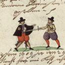 Überfall auf einen Nürnberger Boten 1609. Eintrag und Illustration in einer Nürnberger Chronik, um 1620