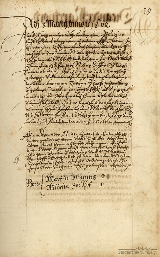 """Der Nürnberger Rat errichtet am 1562 die bis zum Ende der reichsstädtischen Zeit aus zwei Marktherren oder Obermarktherren bestehende Deputation """"zum Markt"""""""