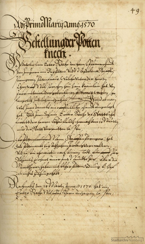 Ordnung vom 1. März 1570 über die Bestellung der Nürnberger Boten