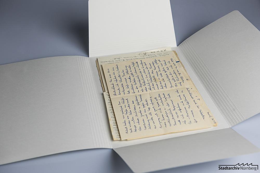 Persönliche Briefe von Curt Heigl nach der Bearbeitung durch das Stadtarchiv (Stadtarchiv Nürnberg E 10/164 Nr. 2)