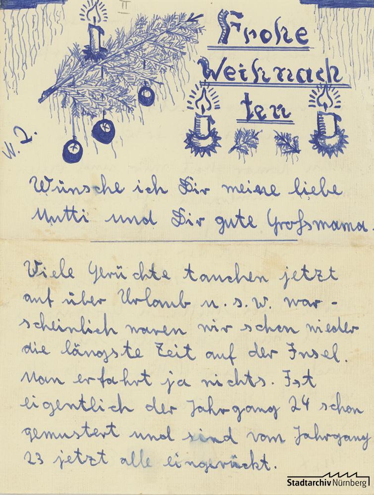 Brief von Curt Heigl an seine Mutter (Stadtarchiv Nürnberg E 10/164m Nr. 2/2)