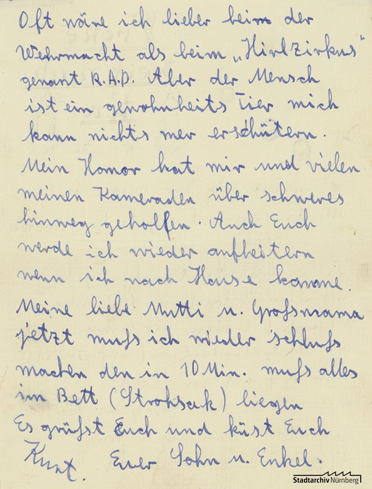 Brief von Curt Heigl an seine Mutter (Stadtarchiv Nürnberg E 10/164 Nr. 2/2)