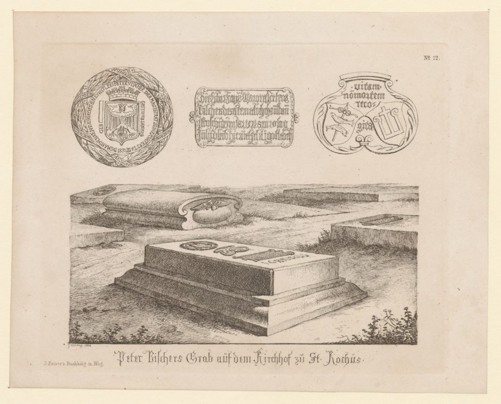 Georg Christoph Wilder: das Grab Peter Vischers mit seinen Epitaphien. Links oben das städtische Ehrenmal von 1834